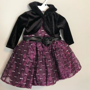 NWOT💜2pc Baby girl purple black dress + shrug